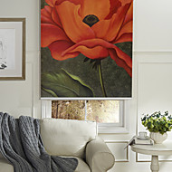 Oil Painting Style Realistic Red Flower Roller Shade