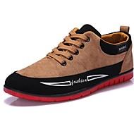 Herre Komfort Vulkaniserte sko Kunstlær Vår Sommer Høst Vinter Avslappet Komfort Vulkaniserte sko Snøring Flat hæl Svart Blå GulUnder 2,5