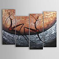 Hånd-malede Abstrakt Fire Paneler Canvas Hang-Painted Oliemaleri For Hjem Dekoration