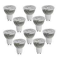 4W GU10 LED-spotlys 4 Højeffekts-LED 350-400 lm Varm hvid Kold hvid Naturlig hvid Vekselstrøm 85-265 V 10 stk.