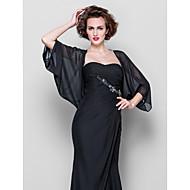 Kadın Eşarpları Palto / Ceket 3/4-Kol Uzunluğu Şifon Siyah Düğün Parti/Gece Günlük Scoop 39cm Kumaş Kaplanmış Önü Açık