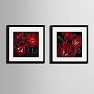Bloemenmotief/Botanisch Ingelijst canvas / Ingelijste set Wall Art,PVC Zwart Inclusief passepartout met Frame Wall Art