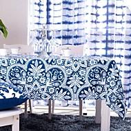 sininen painettu pöytäliina