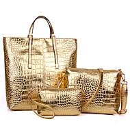 Női Táskák Minden évszak PU Lakkbőr Válltáska Kéztáska táska szettek val vel mert Bevásárlás Hétköznapi Előírásos Arany Fekete Ezüst