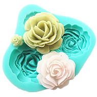 4 ורדים כלים קישוט sugarcraft עובש שוקולד פונדנט אביזרי מטבח כלי אפיית תבנית עוגת סיליקון