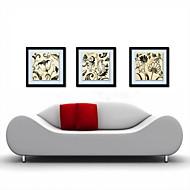 olieverf decoratie abstracte bloemen hand beschilderd doek met gespannen ingelijst - set van 3