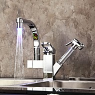 Chrome Finish Single Handle LED Kitchen Brass Faucet