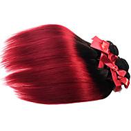 Ljudska kosa Brazilska kosa Ombre Ravna Ekstenzije za kosu 1 komad Crno / Burgundija