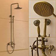 Traditionnel Système de douche Douche pluie / Douchette inclue with  Valve en céramique Deux poignées trois trous for  Laiton Antique ,