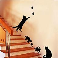 Beautiful PVC Cute Kitten Butterfly Wall Stickers