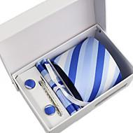עניבה / כיס מרובע / עניבת קליפס / חפתים - דוגמא ( כחול , פוליאסטר )