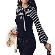 Femei Tricou Plus SizeDungi Manșon Lung Toate Sezoanele-Alb / Negru Mediu Bumbac / Altele