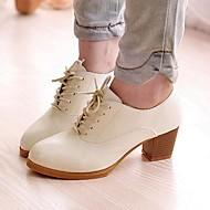 Ženske cipele-Oksfordice-Ured i karijera / Ležerne prilike-Umjetna koža-Kockasta potpetica-Udobne cipele / Špicoke-Crna / Smeđa / Bijela