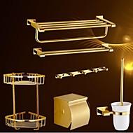 Zestaw akcesoriów łazienkowych Ti-PVD Na ścianie 60cm*21cm*14cm(23.6*8.4*5.5inch) Mosiądz Współczesny