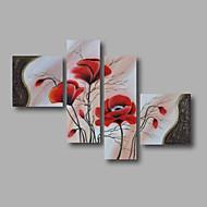 Maalattu Abstrakti / Kukkakuvio/KasvitiedeModerni 4 paneeli Kanvas Hang-Painted öljymaalaus For Kodinsisustus