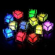 24pcs blå / rød / grønn / rosa / gul / RGB / hvit isbiter LED lys fest bryllup jul bar restaurant