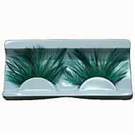Hot Fashion Lady Green Eyelashes Sexy Feather False Eyelashes for Wedding Party