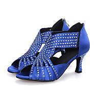 Sapatos de Dança(Preto / Azul / Vermelho) -Feminino-Personalizável-Latina / Jazz / Moderna / Sapatos de Swing