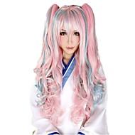 Γυναικείο Συνθετικές Περούκες Χωρίς κάλυμμα Σγουρά Ροζ Μαλλιά με ανταύγειες Lolita Wig Απόκριες Περούκα Καρναβάλι περούκα φορεσιά περούκες