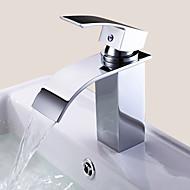 Nykyaikainen Integroitu Vesiputous with  Keraaminen venttiili Yksi reikä Yksi kahva yksi reikä for  Kromi , Kylpyhuone Sink hana
