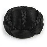 excêntricas Enrolado Preto noiva tecer fio de cabelo humano sem tampa perucas chignons 2