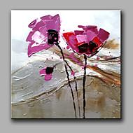 Ručno oslikana Cvjetni / Botanički Kvadrat,Moderna Klasika Jedna ploha Hang oslikana uljanim bojama For Početna Dekoracija