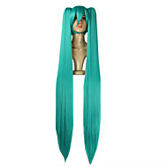 Femme Perruque Synthétique Sans bonnet Raide Bleu Avec queue de cheval Avec Frange Perruque de Cosplay Perruque de célébrité Perruque