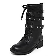 Feminino Sapatos Couro Ecológico Inverno Coturnos Botas Salto Baixo Botas Cano Médio Tachas Para Casual Preto