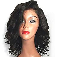 Naisten Synteettiset peruukit Lace Front Keskikokoinen Laineikas Musta Luonnollinen hiusviiva Sivuosa Bob-leikkaus Lace Wig Halloween