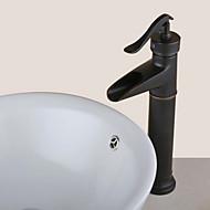 Antik Centersat Vandfald with  Keramik Ventil Et Hul Enkelt håndtag Et Hul for  Olie-gnedet Bronze , Håndvasken vandhane