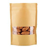 sacos de papel kraft, janela, stand-up sacos, embalagens de alimentos, nove centímetros * 15 centímetros + 3 centímetros, um pacote de dez