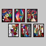 Abstrato Fantasia Quadros Emoldurados Conjunto Emoldurado Arte de Parede,PVC Material Preto Sem Cartolina de Passepartout com frame For