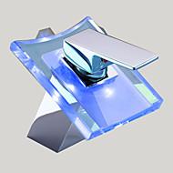 콘템포라리 주방,욕조수전(Centerset) 워터팔 with  도자기 발브 홀 한개 싱글 핸들 하나의 구멍 for  크롬 , 욕실 싱크 수도꼭지