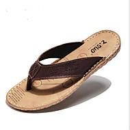 Γυναικεία παπούτσια-Παντόφλες & flip-flops-Καθημερινά-Επίπεδο Τακούνι-Σανδάλια-Δέρμα-Καφέ
