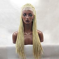 Žene Sintetičke perike Lace Front Dug Ravna Jagoda blond Afričke pletenice Prirodna linija za kosu Afro-američka perika Za crnkinje