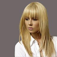 Mulher Perucas de cabelo capless do cabelo humano Preto jet médio Auburn Loiro Morango/Loiro Claro Longo Liso Com Franjas