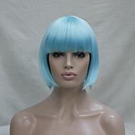 Mulher Perucas sintéticas Sem Touca Curto Liso Azul Corte Bob Com Franjas Peruca para Cosplay Peruca de Halloween Peruca de carnaval