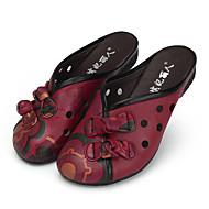 Feminino-Sandálias-Conforto-Rasteiro-Preto Vermelho-Pele-Casual