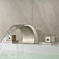 Moderne Udspredt Vandfald with  Keramik Ventil To Håndtag tre huller for  Nikkel Børstet , Håndvasken vandhane