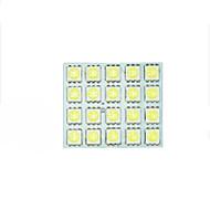2x hvid 5050 førte 20 SMD panel kort dome interiør lys + guirlande t10 BA9s adapter