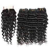 4 Peças Onda Profunda Tramas de cabelo humano Cabelo Brasileiro 100g per bundle 8inch-28inch Extensões de cabelo humano