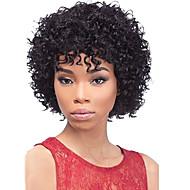 Mulher Perucas de cabelo capless do cabelo humano Cabelo Humano 130% Densidade Com Franjas Ondas Médias Afro Peruca Preto Curto Médio
