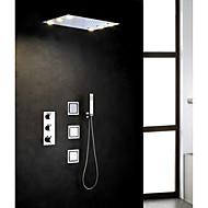 Moderne Regndusj Utbredt Hånddusj Inkludert Termostatisk LED with  Messing Ventil Tre Håndtak fem hull for  Krom , Dusjkran