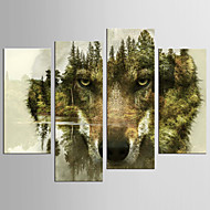 Abstract Animal Modern European Style,Four Panels Canvas Any Shape Print Wall Decor For Home Decoration