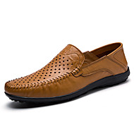 Miehet kengät Nahka Kevät Kesä Syksy Comfort Mokkasiinit Käyttötarkoitus Urheilullinen Kausaliteetti Musta Tumman sininen Vaalean ruskea