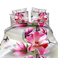 Ensembles housse de couette Fleur 4 Pièces Imprimé 1 pièces (1 housse de couette, 1 drap, 2 housses d'oreiller)