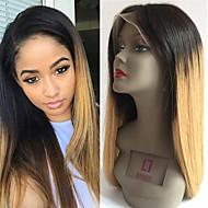 Naisten Aitohiusperuukit verkolla Remy Lace Front Liimaton puoliverkko 130% Tiheys Suora Peruukki Musta / Medium Browm / Strawberry Blonde