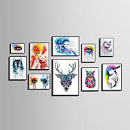 Abstract Bloemenmotief/Botanisch Dier Mensen Ingelijst canvas Ingelijste set Muurkunst,PVC Materiaal Zwart Zonder passepartout Met frame