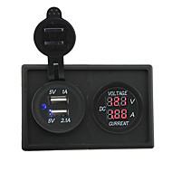 12v / 24v 3.1a Dual USB-Buchse und Strommesser mit Gehäusehalter Verkleidung für Autoboots LKW rv geführt