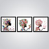 Pingoitetut kanvasprintit Abstrakti Sarjakuva Moderni,3 paneeli Kanvas Horizontal Painettu Wall Decor For Kodinsisustus